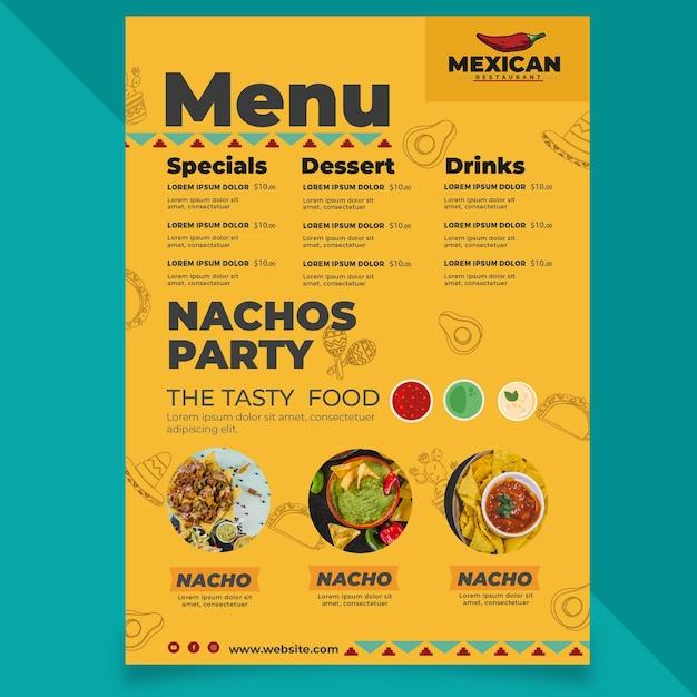 Menu de restaurante mexicano Vetor Premium