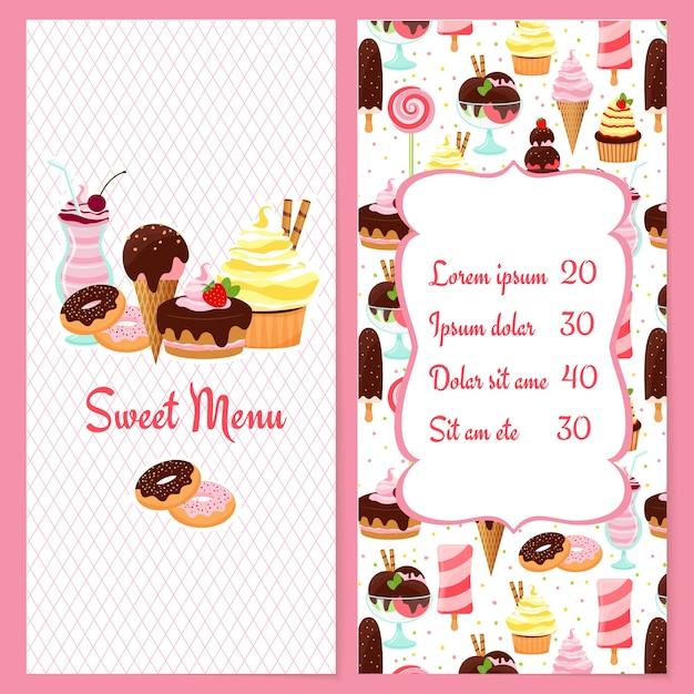 Menu de sobremesas coloridas para restaurantes com uma lista de preços emoldurada cercada por doces de sorvete, doces e sobremesas em uma metade e o texto menu doce na outra Vetor grátis