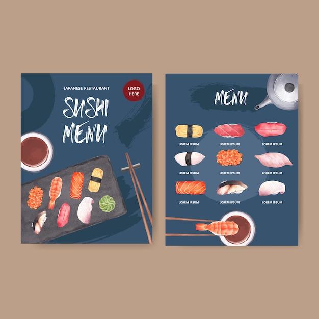Menu de sushi para restaurante. Vetor grátis