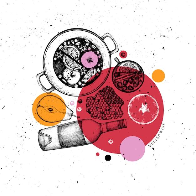Menu do bar. mão-extraídas ilustrações de vinho quente com especiarias. coroa de losango com esboços de bebidas quentes. quadro de comida e bebida de natal. modelo de cartão, convite ou folheto. Vetor Premium