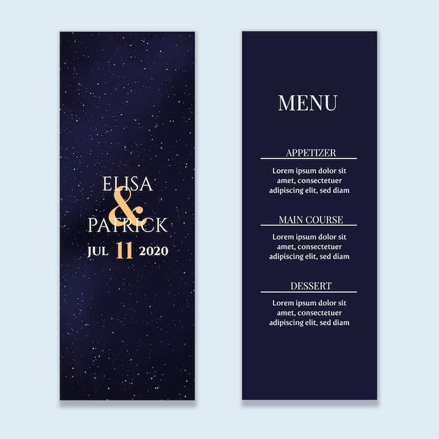 Menu do casamento do céu estrelado Vetor Premium