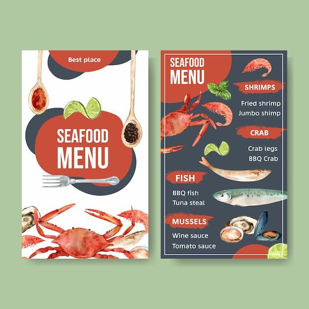 Menu do dia mundial da comida com caranguejo, camarão, ilustração de aquarela de carne de molusco. Vetor grátis