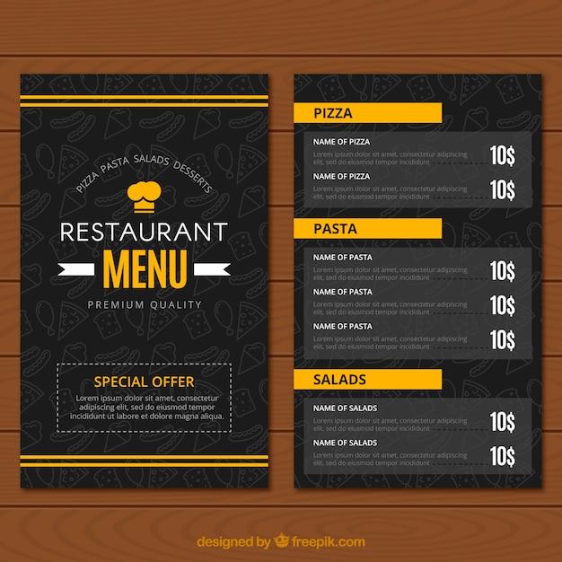 Menu do restaurante, cores pretas e amarelas Vetor grátis