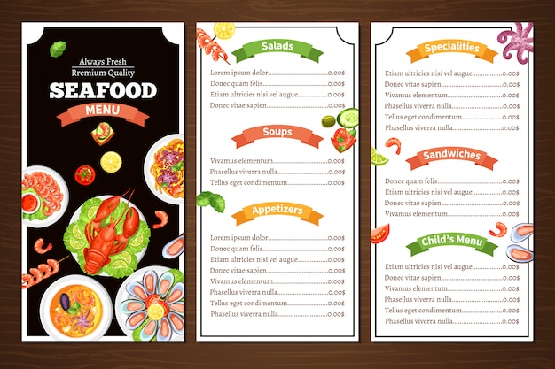 Menu do restaurante de frutos do mar Vetor grátis