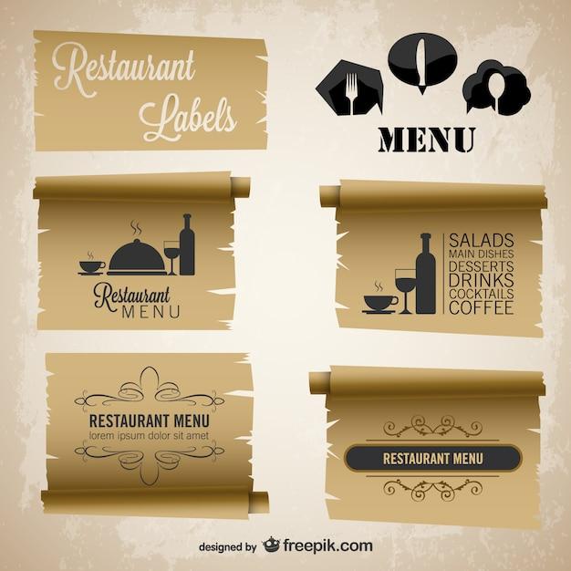 Menu do restaurante etiquetas de papel do vintage conjunto Vetor grátis