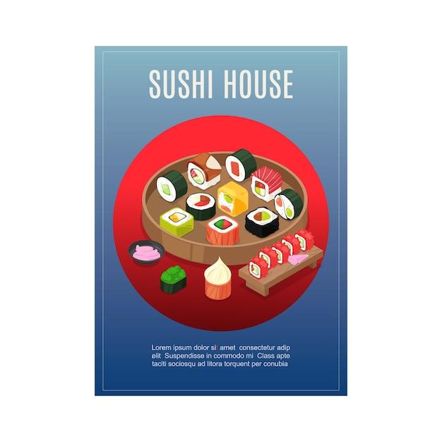Menu do sushi, alimento asiático no restaurante da casa de japão, ilustração. desenho de banner de rolo, peixe, arroz, vegetais e frutos do mar. Vetor Premium