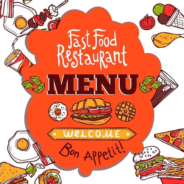 Menu Fast Food Vetor grátis