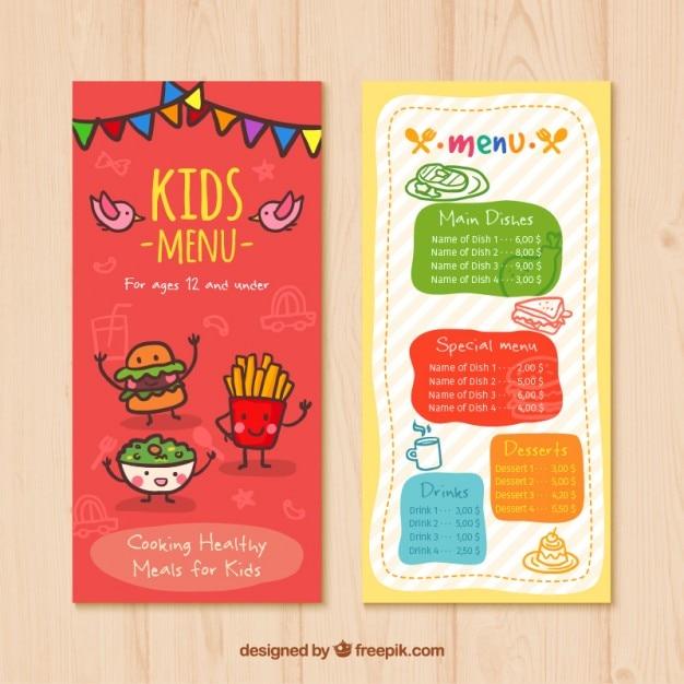 Menu para crianças com desenhos de alimentos agradáveis Vetor grátis