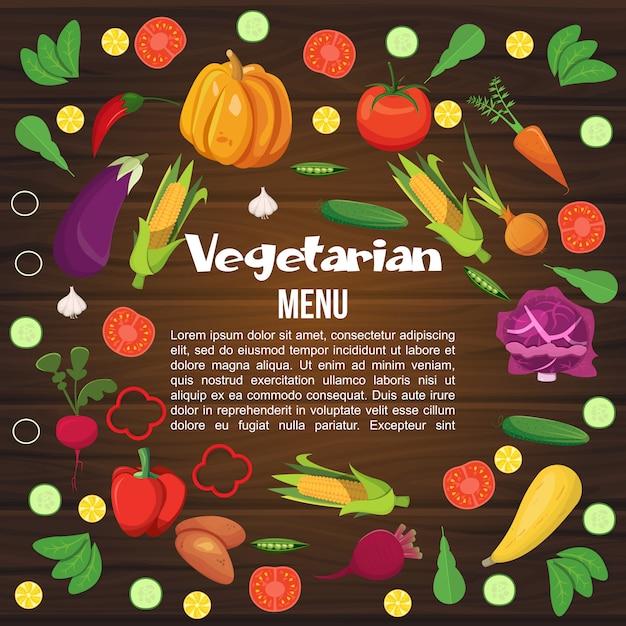Menu plano de legumes Vetor grátis