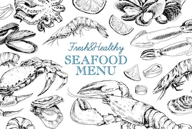 Menu vintage de frutos do mar no estilo de desenho Vetor Premium