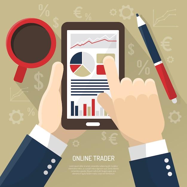 Mercado de ações na ilustração de smartphone Vetor grátis