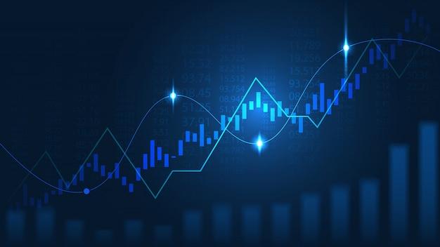 Mercado de ações ou forex trading gráfico no conceito gráfico Vetor Premium