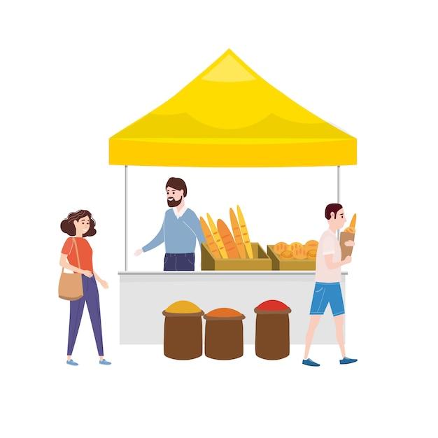 Mercado de padarias de rua Vetor Premium