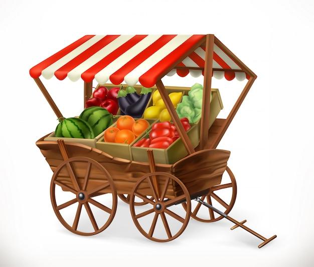 Mercado De Produtos Frescos Carrinho Com Frutas E Legumes Vetor Premium