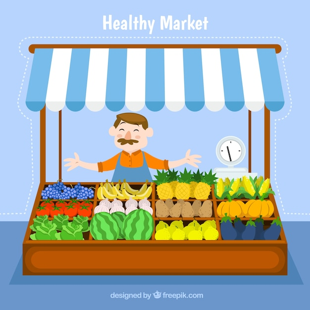 Mercado saudável Vetor grátis