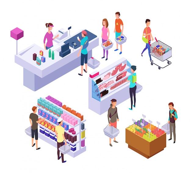 Mercearia isométrica. interior do supermercado 3d com clientes de pessoas e produtos de compras. conjunto de varejo Vetor Premium