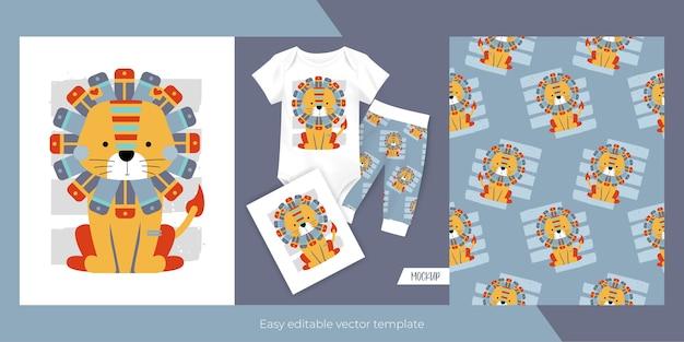 Merchandising de padrão sem emenda de leão fofo Vetor Premium