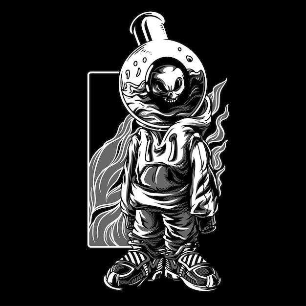 Merda experimenta ilustração em preto e branco Vetor Premium