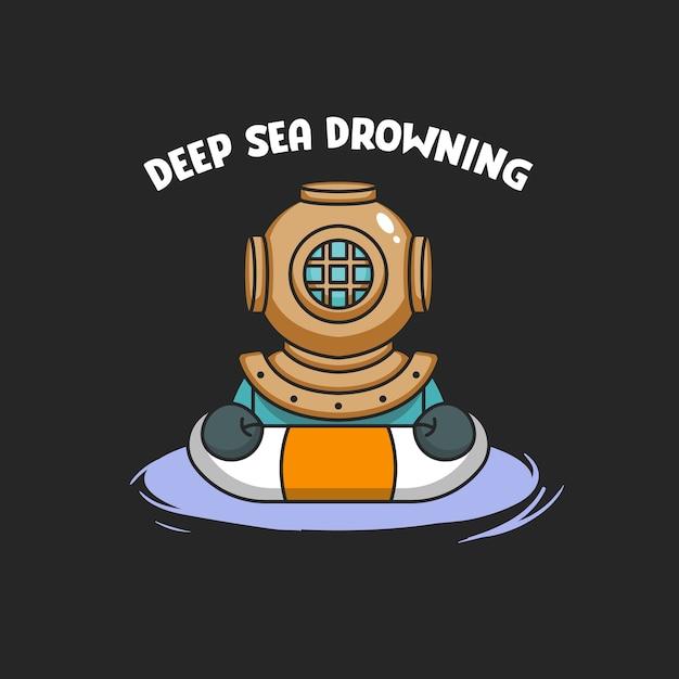 Mergulhador a afogar-se Vetor Premium