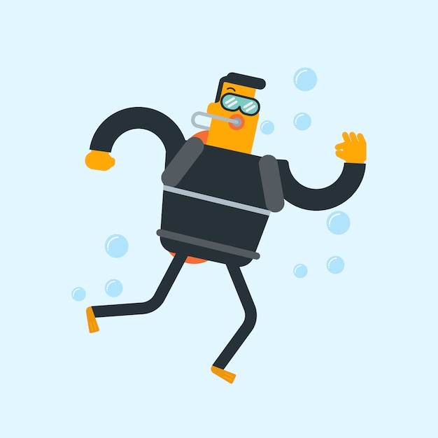 Mergulhador de mergulhador branco caucasiano novo que mostra o sinal aprovado. Vetor Premium