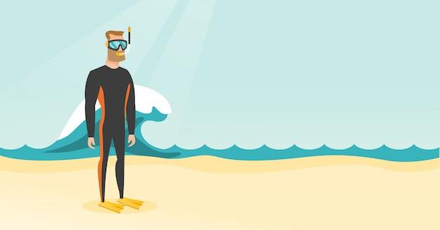 Mergulhador de mergulhador caucasiano novo no terno de mergulho. Vetor Premium