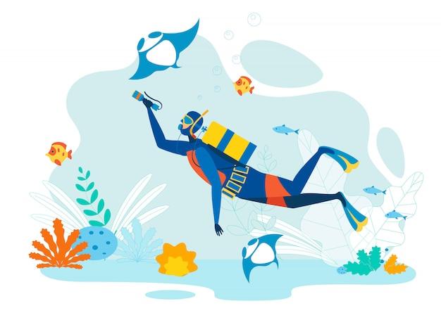 Mergulhador, explorando, vida marinha, apartamento Vetor Premium