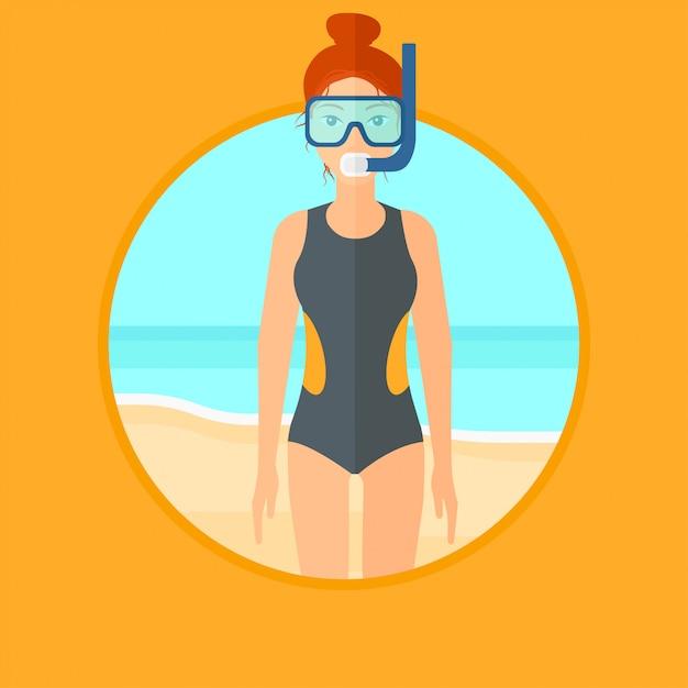 Mergulhador fêmea na praia. Vetor Premium