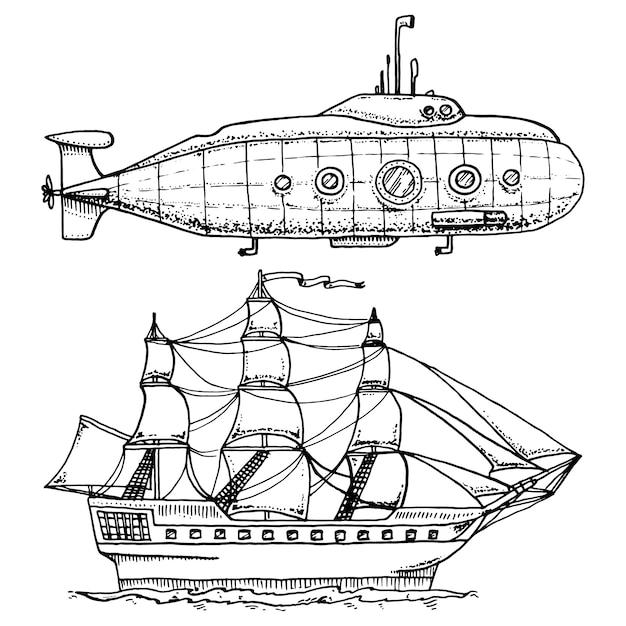 Mergulho de submarino militar ou barco subaquático com periscópio ao fundo do mar. navio de cruzeiro ou ilustração de veleiro. Vetor Premium