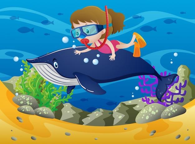 Mergulho feminino com baleia sob o mar Vetor grátis