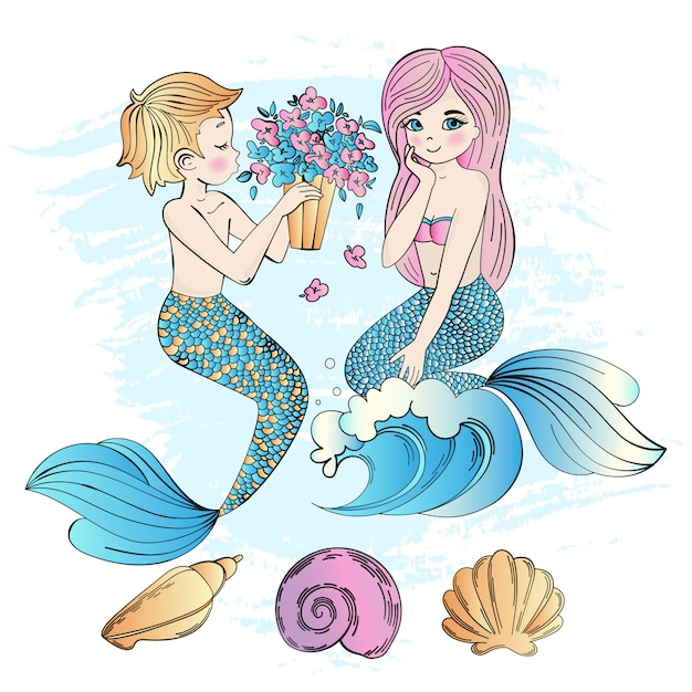 Mermaid ramalhete sea underwater party Vetor Premium