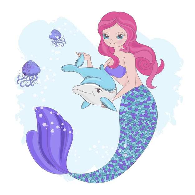 Mermaid toy animal de fada subaquática Vetor Premium