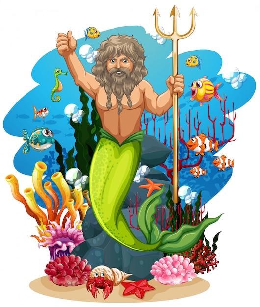Merman e muitos peixes no fundo do oceano Vetor grátis