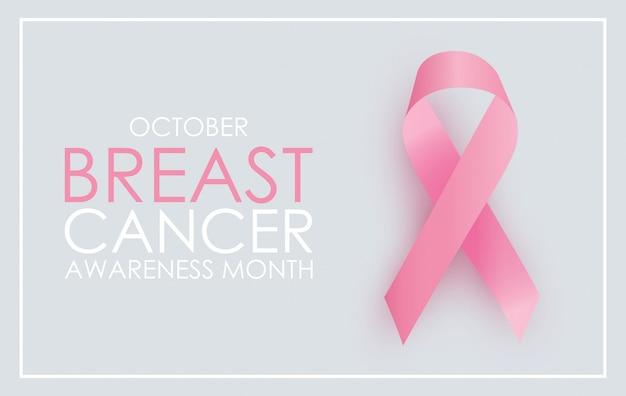 Mês da conscientização do câncer de mama em outubro. sinal de fita rosa. Vetor Premium