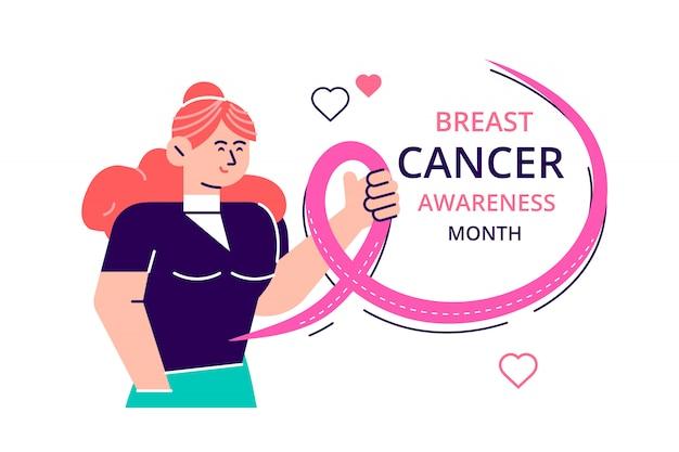 Mês da fita rosa de câncer de mama, dia internacional do câncer de mama em todo o mundo, mulheres se abraçando com fitas como uma preocupação para o câncer de mama. ilustração de design moderno estilo simples Vetor Premium