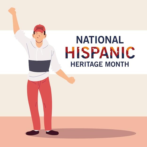 Mês da herança hispânica nacional com desenhos animados latinos e ilustração do tema design de chapéu, cultura e diversidade Vetor Premium