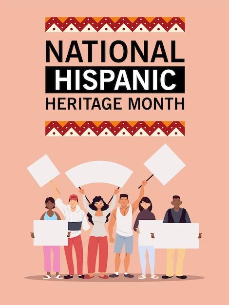 Mês da herança hispânica nacional com homens e mulheres latinos com painéis de banners, ilustração temática de cultura e diversidade Vetor Premium