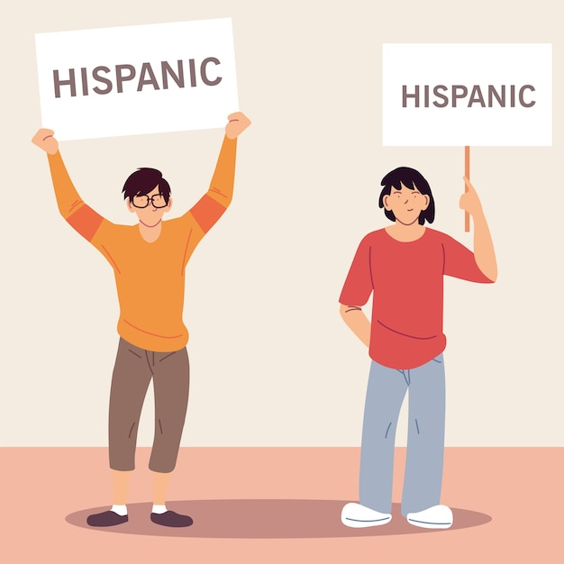 Mês da herança hispânica nacional com ilustrações de desenhos animados masculinos latinos, cultura e diversidade. Vetor Premium