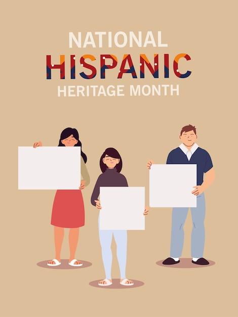 Mês da herança hispânica nacional com ilustrações temáticas de mulheres latinas, cultura e diversidade Vetor Premium