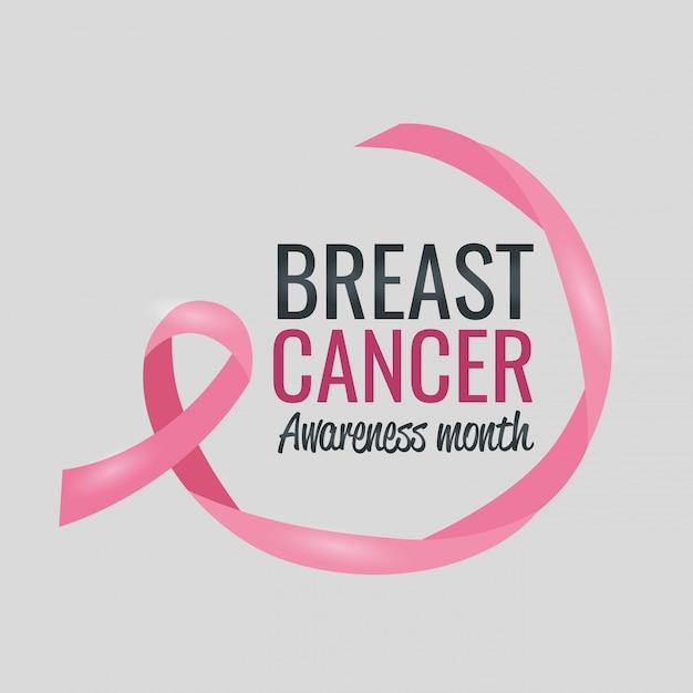 Mês de conscientização de câncer de mama cartaz com fita Vetor grátis