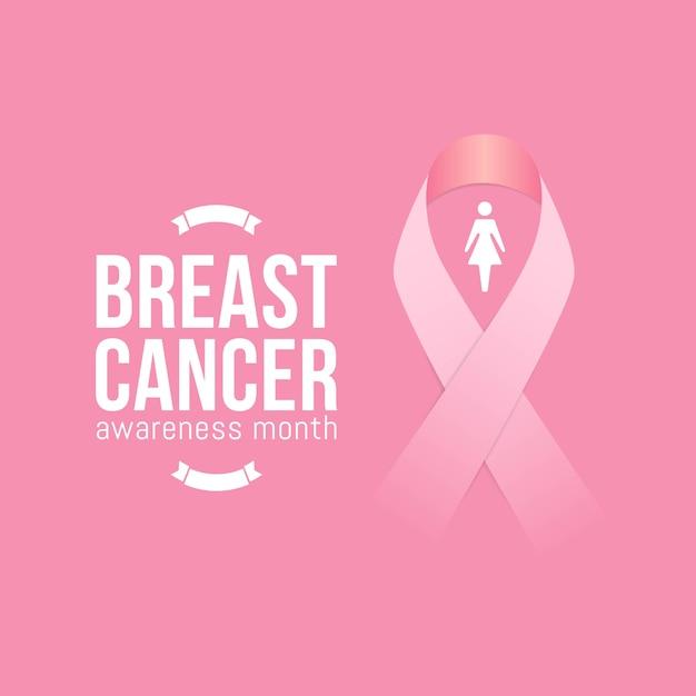Mês de conscientização de câncer de mama em outubro com fita rosa realista Vetor Premium