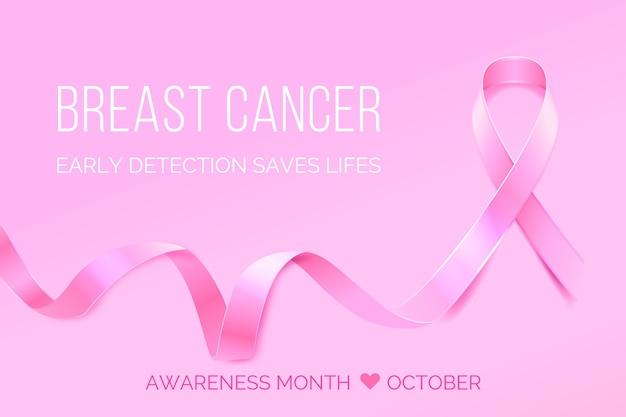 Mês de conscientização do câncer de mama com fita Vetor grátis