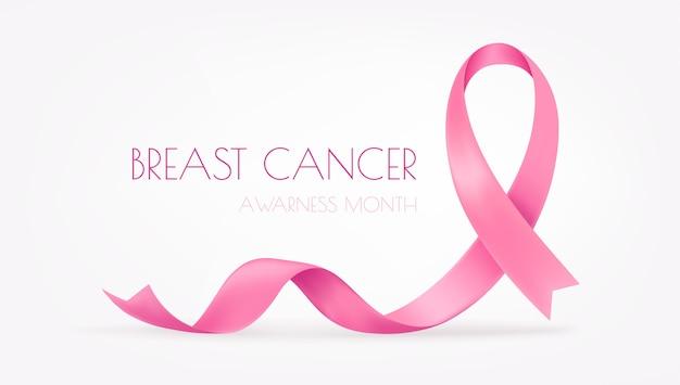 Mês mundial de conscientização do câncer de mama. fita de seda rosa em fundo branco Vetor Premium