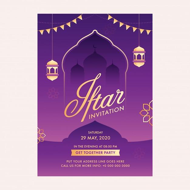 Mês sagrado islâmico do conceito de ramadã com cartão de convite iftar, lanternas douradas, silhueta de mesquita Vetor Premium