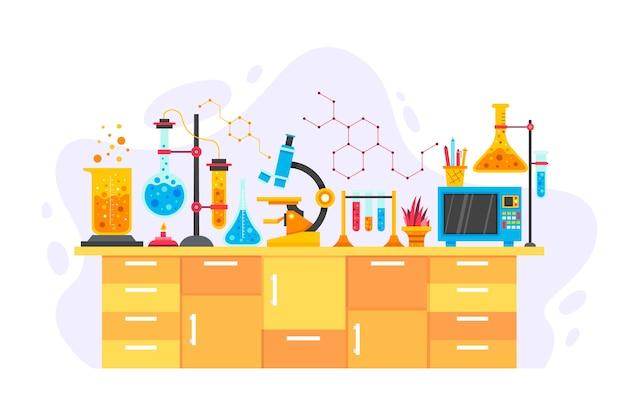 Mesa científica com objetos de química Vetor grátis