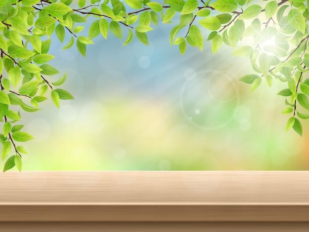 Mesa de deck de madeira com folhas verdes Vetor Premium