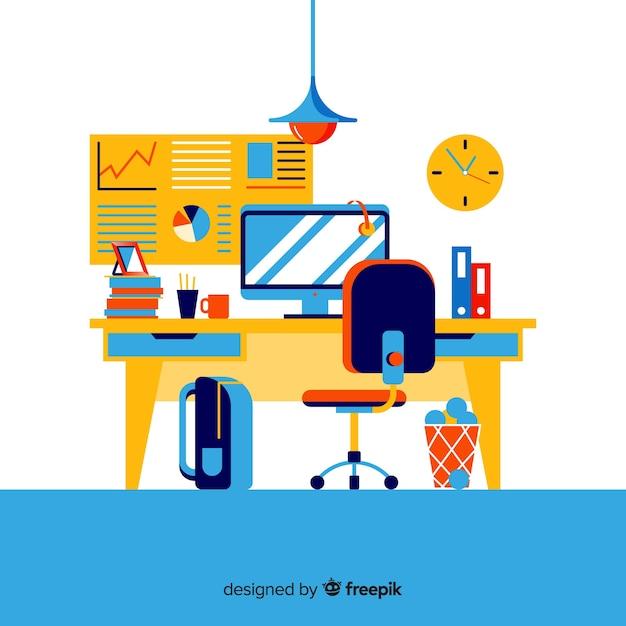 Mesa de escritório colorida com design plano Vetor grátis