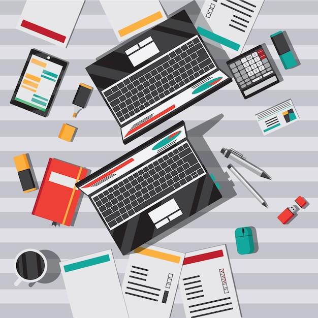 Mesa de escritório com vista superior plana de notebook Vetor grátis