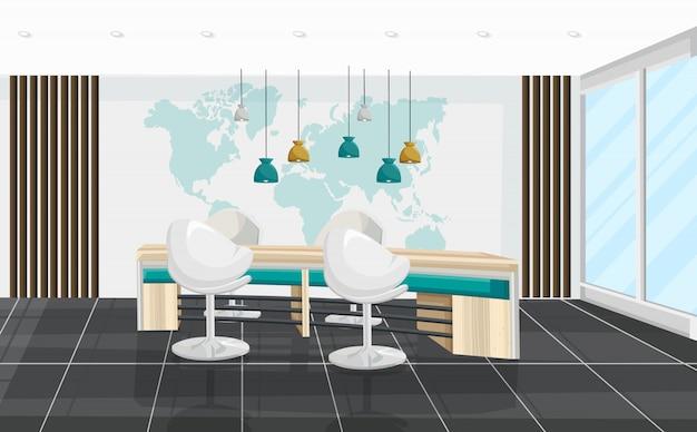 Mesa de escritório e sala de reuniões de cadeiras. centro de negócios, call center, banco ou interior de hub de tecnologia Vetor Premium