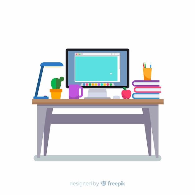 Mesa de escritório moderna com deisng plana Vetor grátis
