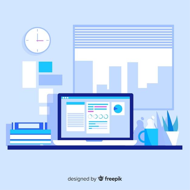 Mesa de escritório moderna com design plano Vetor grátis